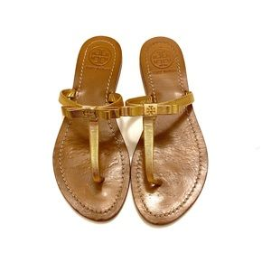 Tory Burch Leighanne Bow Thong Sandal Gold Size 7